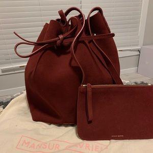 Mansur Gavriel Leather Lined Suede Bucket Bag